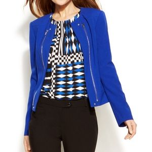 Calvin Klein Blue Zipper Detail Blazer Size 14W